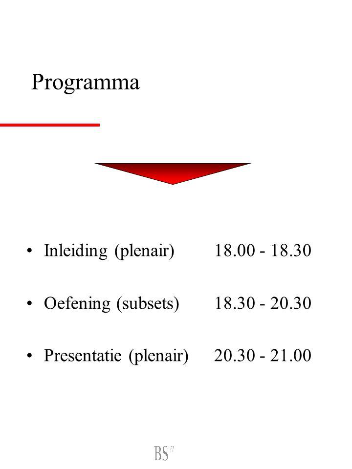 Programma Inleiding (plenair) 18.00 - 18.30