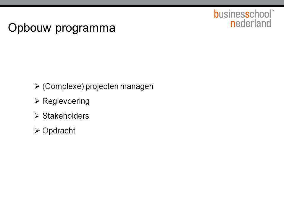 Opbouw programma (Complexe) projecten managen Regievoering