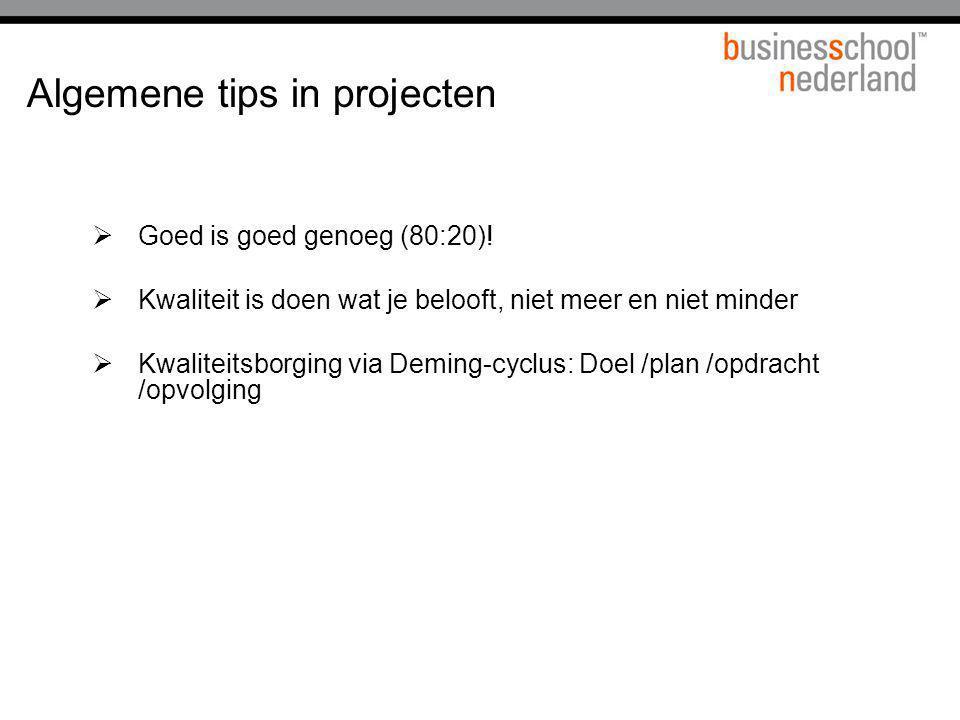 Algemene tips in projecten