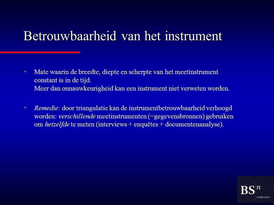 Betrouwbaarheid van het instrument