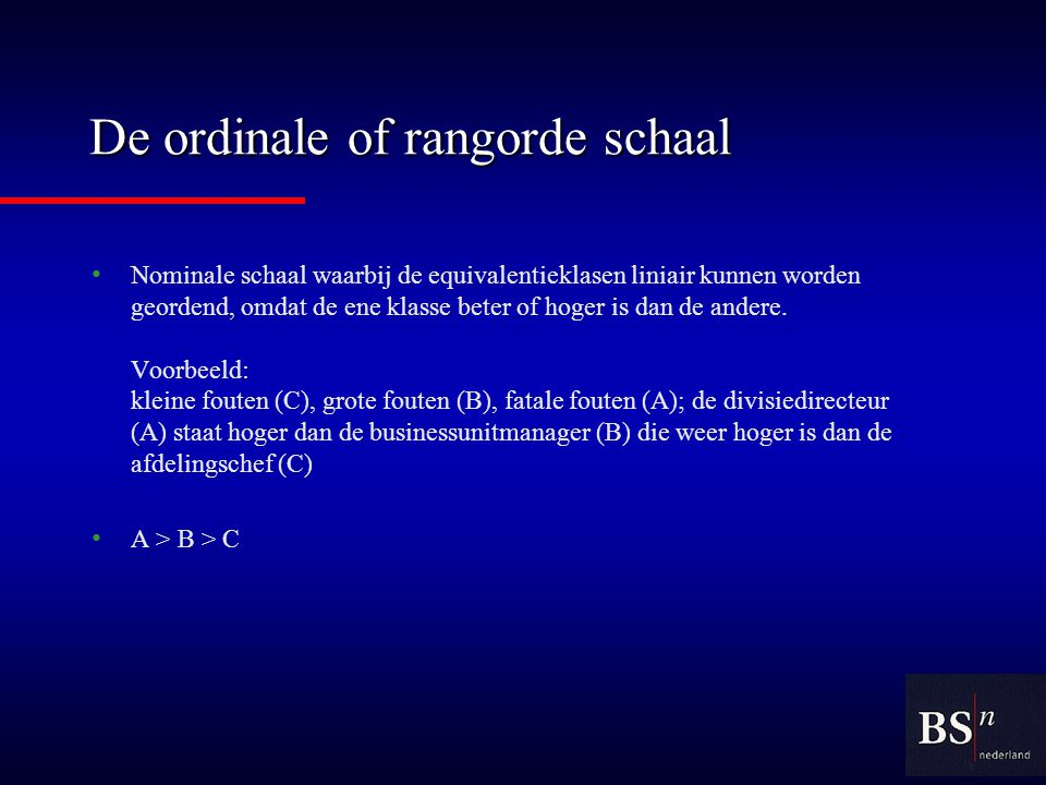 De ordinale of rangorde schaal