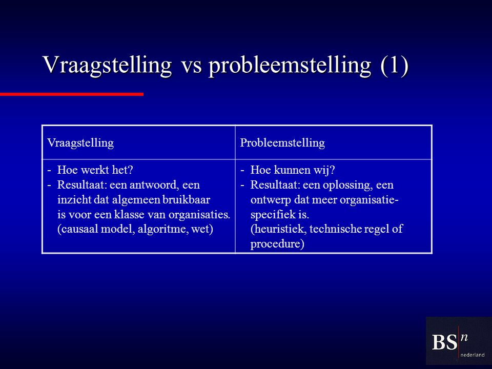 Vraagstelling vs probleemstelling (1)