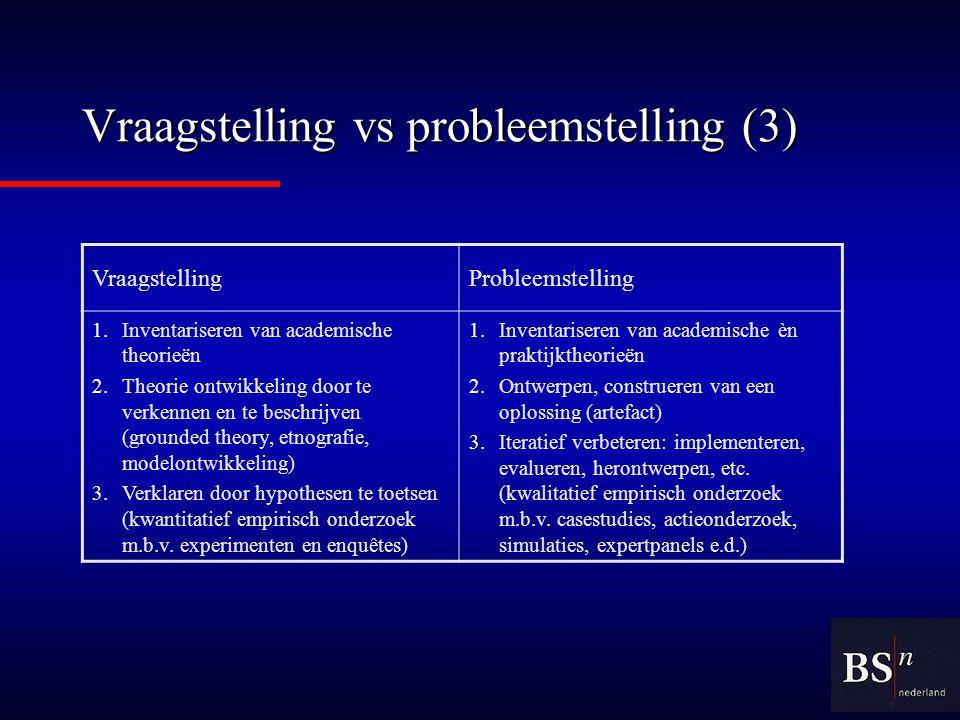 Vraagstelling vs probleemstelling (3)