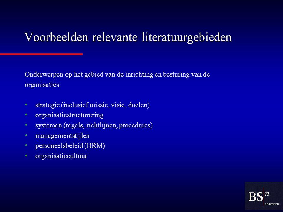 Voorbeelden relevante literatuurgebieden
