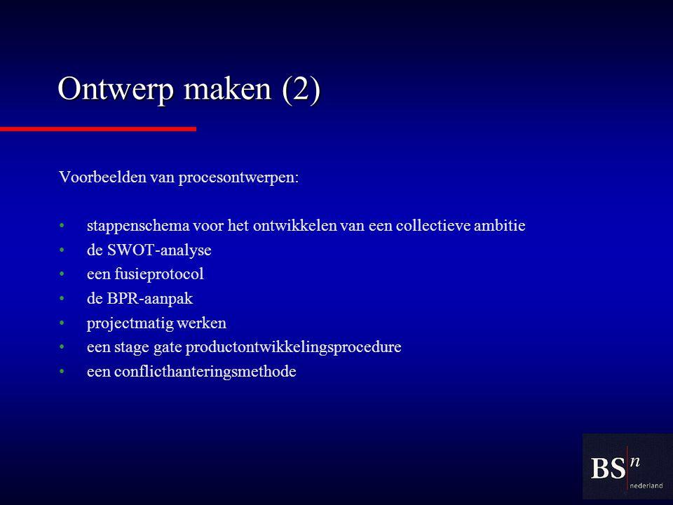 Ontwerp maken (2) Voorbeelden van procesontwerpen: