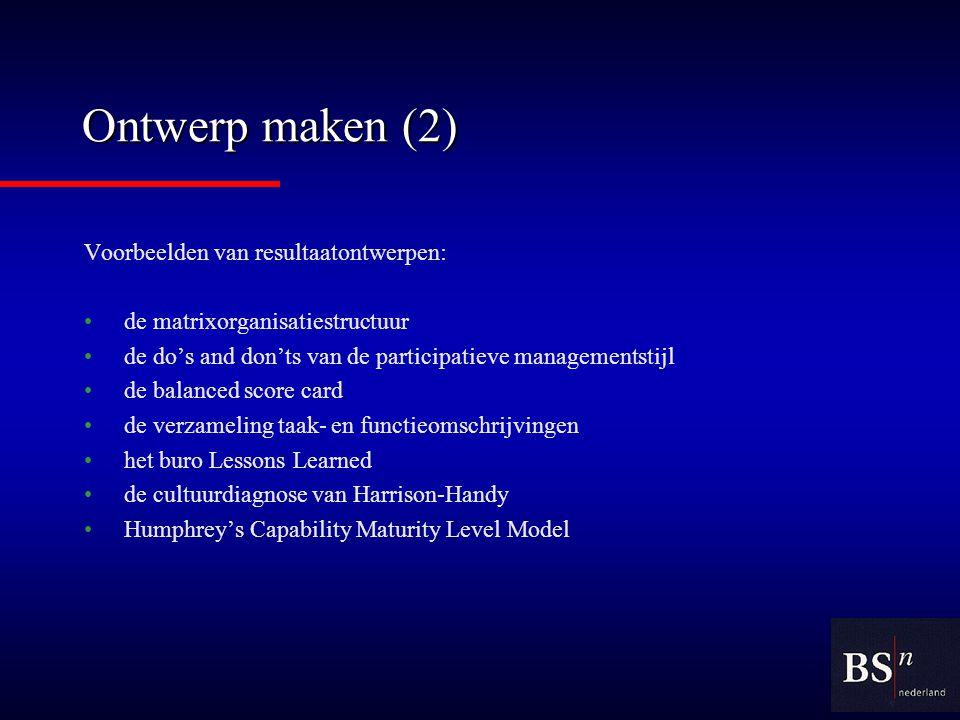 Ontwerp maken (2) Voorbeelden van resultaatontwerpen: