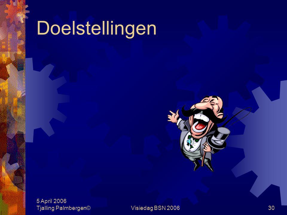 Doelstellingen 5 April 2006 Tjalling Palmbergen© Visiedag BSN 2006