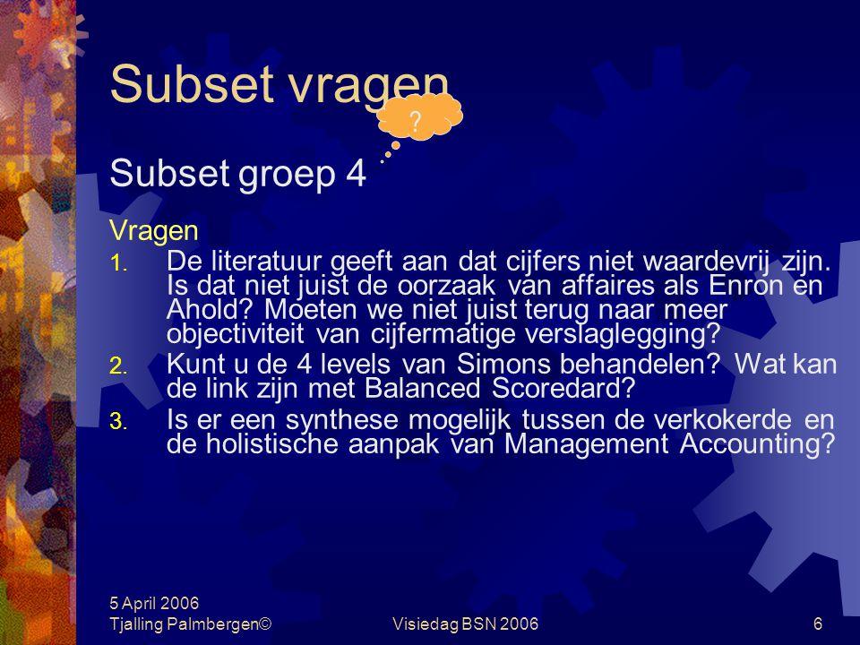 Subset vragen Subset groep 4 Vragen