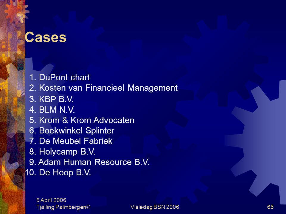 Cases 1. DuPont chart 2. Kosten van Financieel Management 3. KBP B.V.