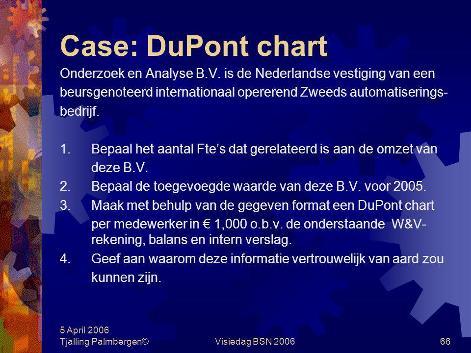Case: DuPont chart Onderzoek en Analyse B.V. is de Nederlandse vestiging van een. beursgenoteerd internationaal opererend Zweeds automatiserings-
