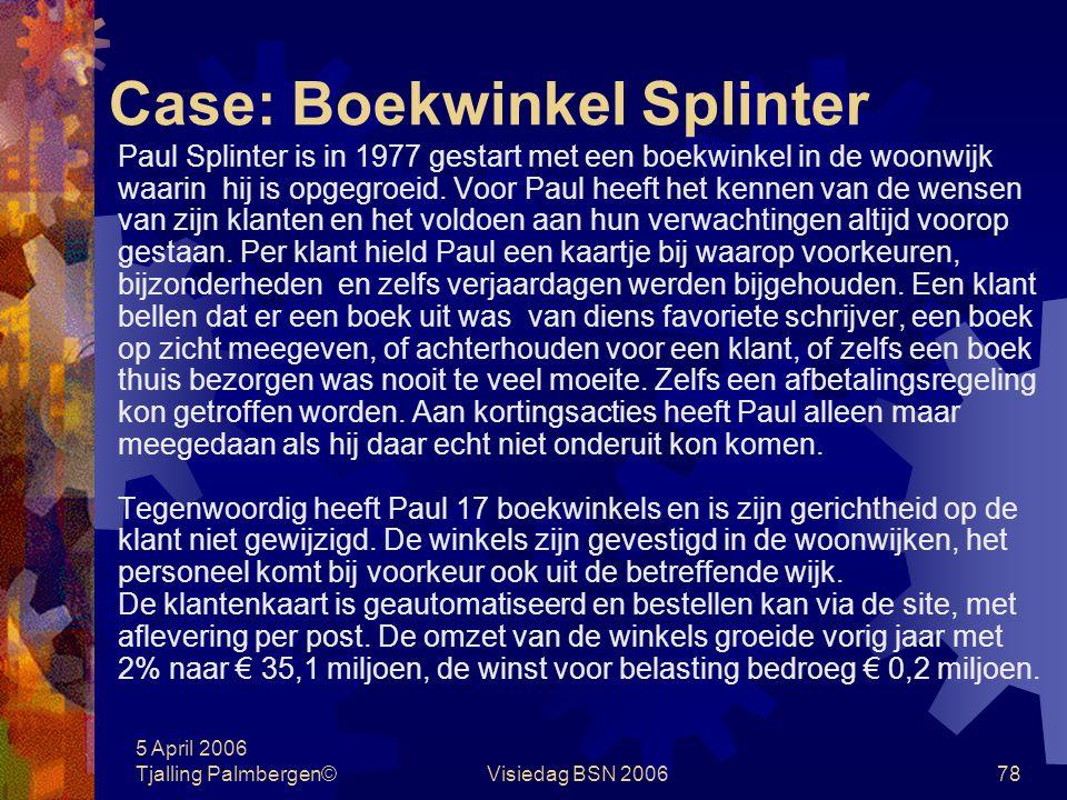Case: Boekwinkel Splinter