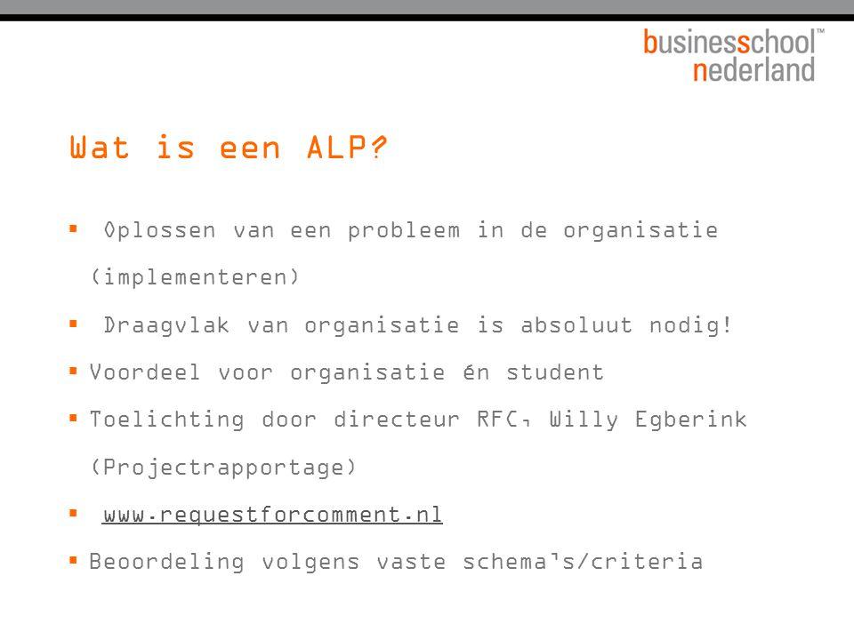 Wat is een ALP Oplossen van een probleem in de organisatie (implementeren) Draagvlak van organisatie is absoluut nodig!