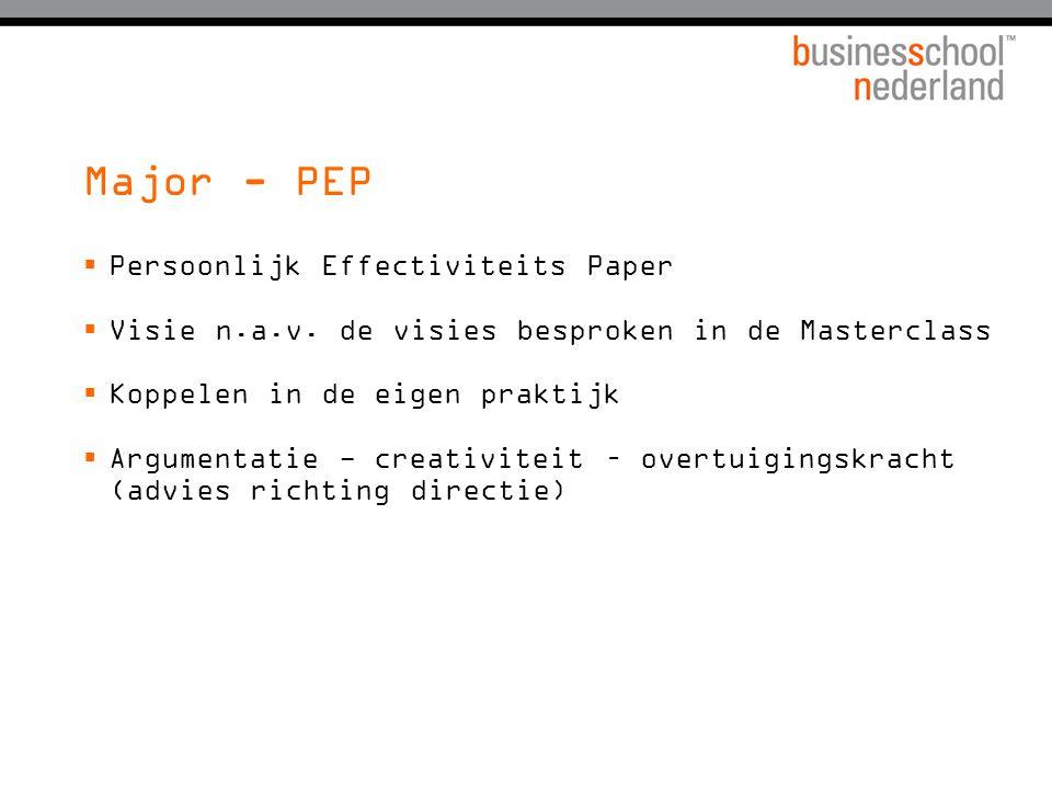Major - PEP Persoonlijk Effectiviteits Paper