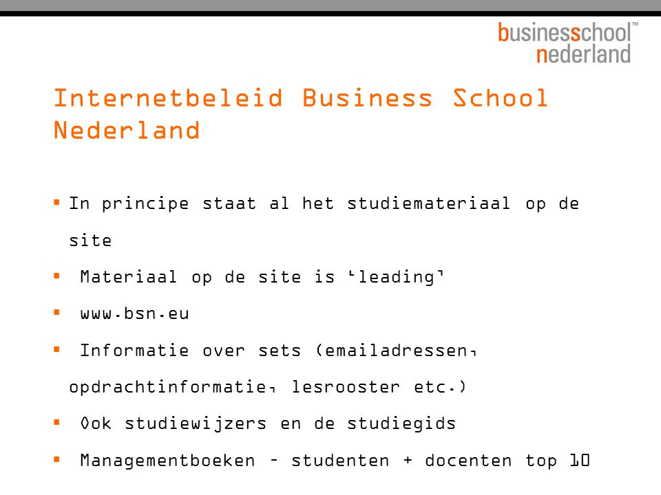 Internetbeleid Business School Nederland