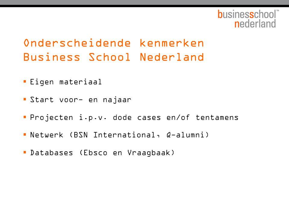 Onderscheidende kenmerken Business School Nederland