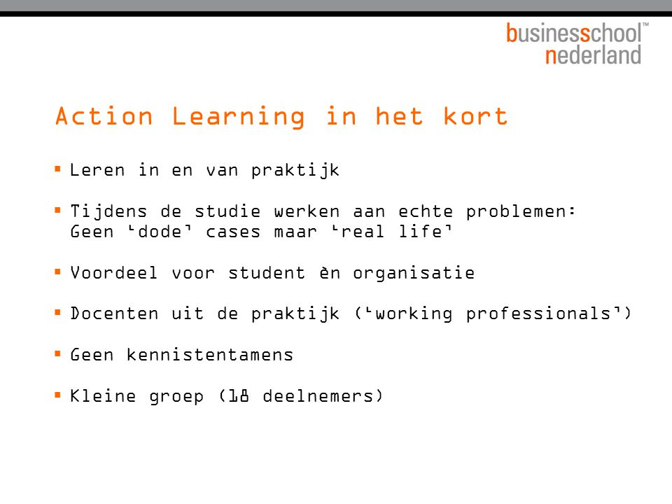Action Learning in het kort