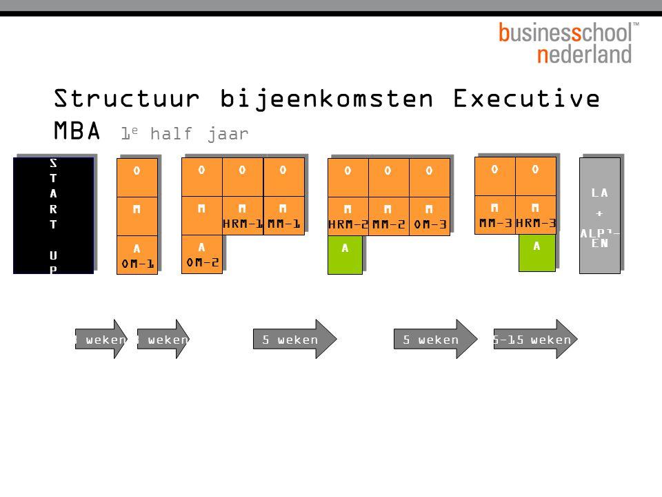 Structuur bijeenkomsten Executive MBA 1e half jaar