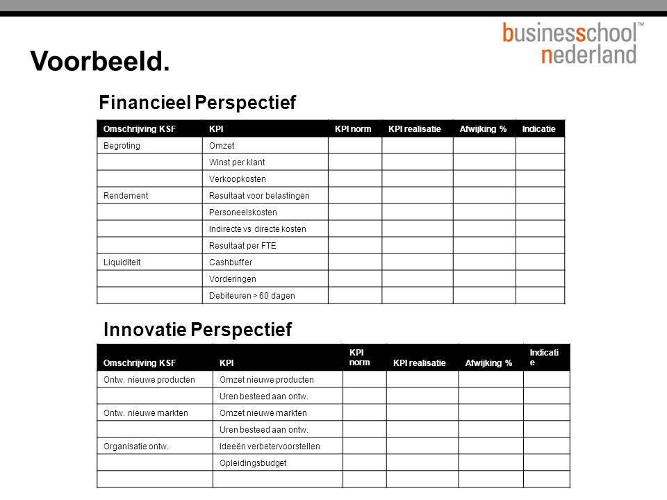 Voorbeeld. Financieel Perspectief Innovatie Perspectief