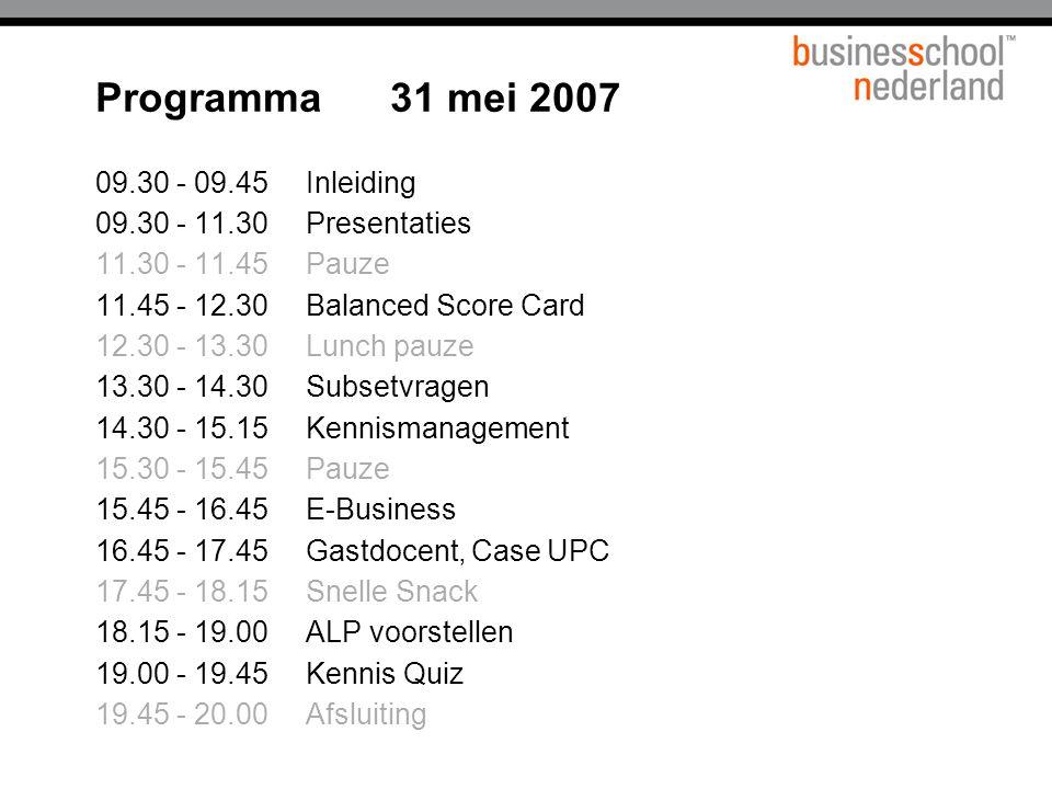 Programma 31 mei 2007 09.30 - 09.45 Inleiding