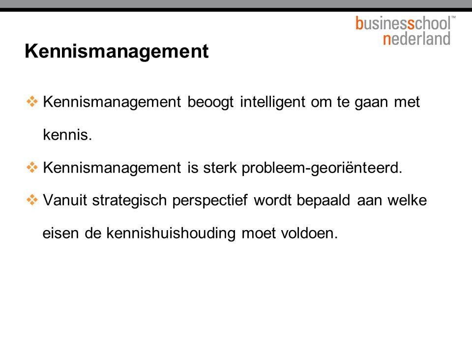 Titel presentatie Kennismanagement. Kennismanagement beoogt intelligent om te gaan met kennis. Kennismanagement is sterk probleem-georiënteerd.