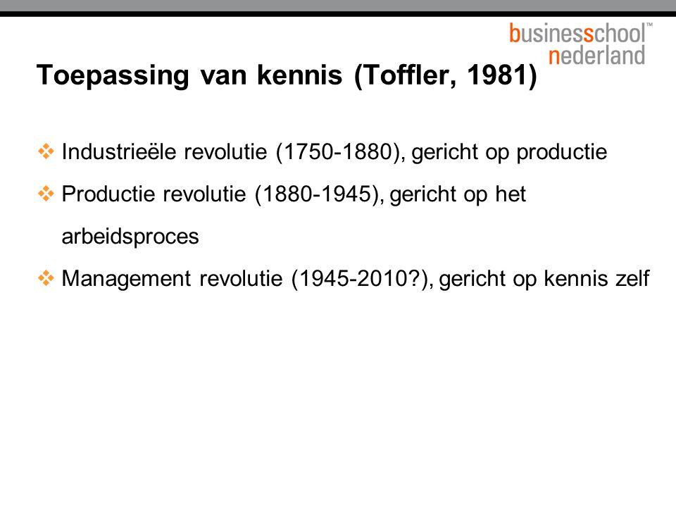 Toepassing van kennis (Toffler, 1981)