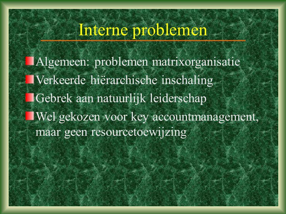 Interne problemen Algemeen: problemen matrixorganisatie