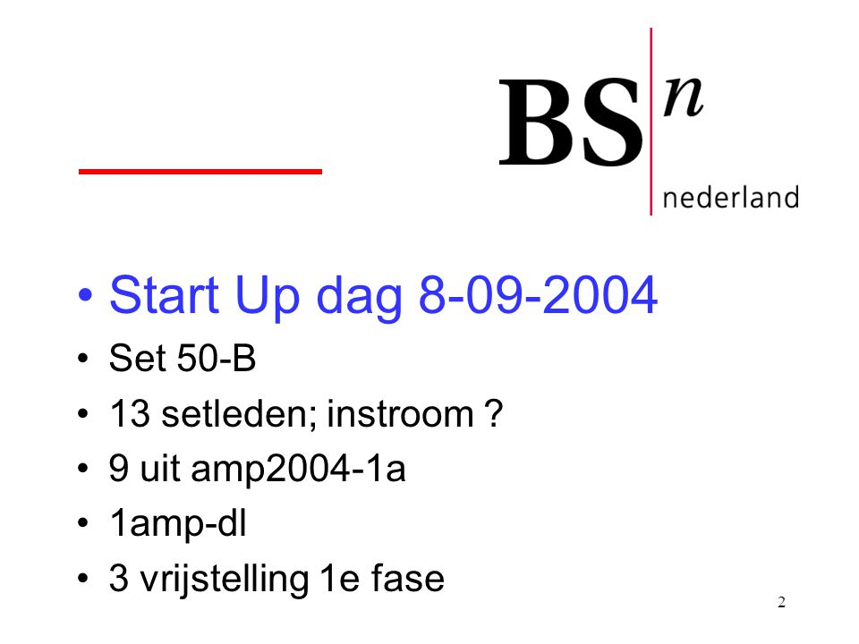 Start Up dag 8-09-2004 Set 50-B 13 setleden; instroom