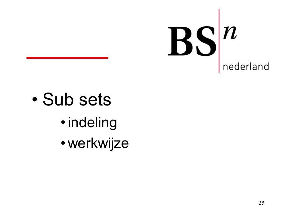 Sub sets indeling werkwijze