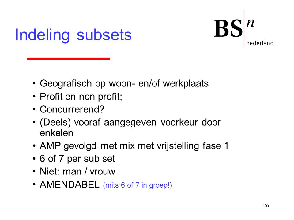 Indeling subsets Geografisch op woon- en/of werkplaats