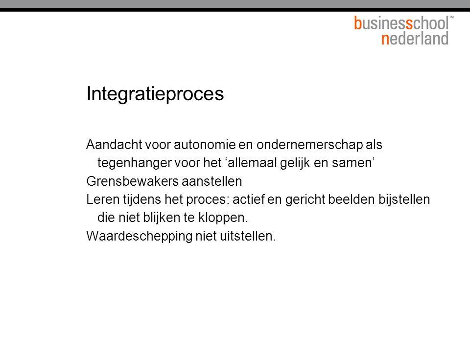 Integratieproces Aandacht voor autonomie en ondernemerschap als tegenhanger voor het 'allemaal gelijk en samen'