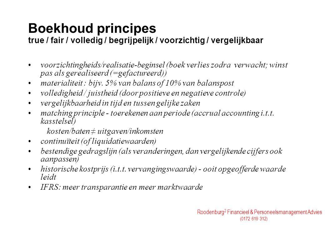 Boekhoud principes true / fair / volledig / begrijpelijk / voorzichtig / vergelijkbaar