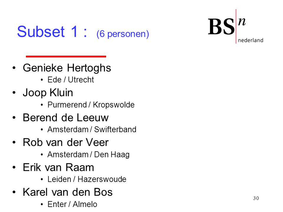 Subset 1 : (6 personen) Genieke Hertoghs Joop Kluin Berend de Leeuw