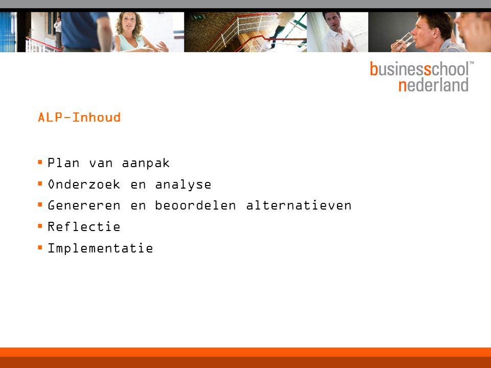 ALP-Inhoud Plan van aanpak. Onderzoek en analyse. Genereren en beoordelen alternatieven. Reflectie.