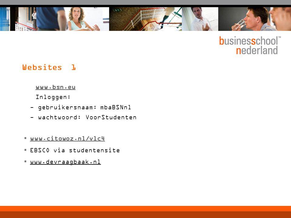 Websites 1 www.bsn.eu Inloggen: