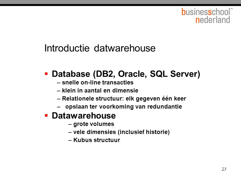 Introductie datwarehouse