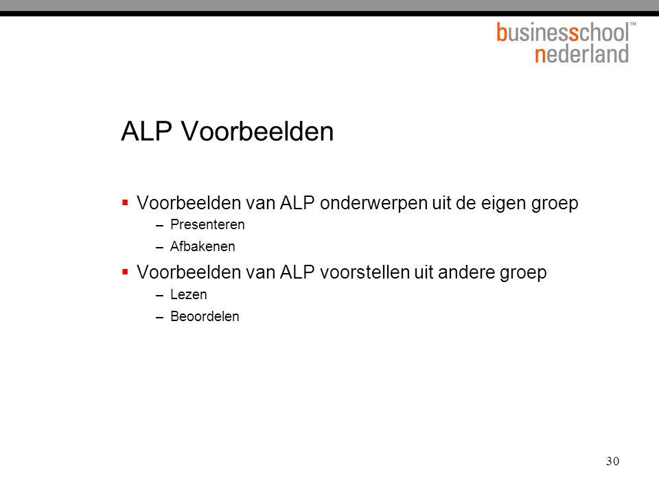 ALP Voorbeelden Voorbeelden van ALP onderwerpen uit de eigen groep