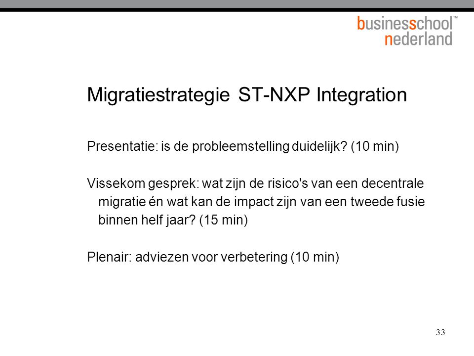 Migratiestrategie ST-NXP Integration