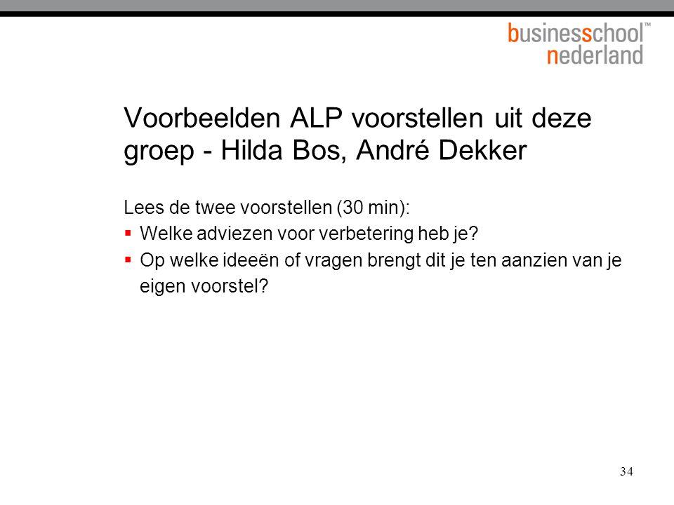 Voorbeelden ALP voorstellen uit deze groep - Hilda Bos, André Dekker