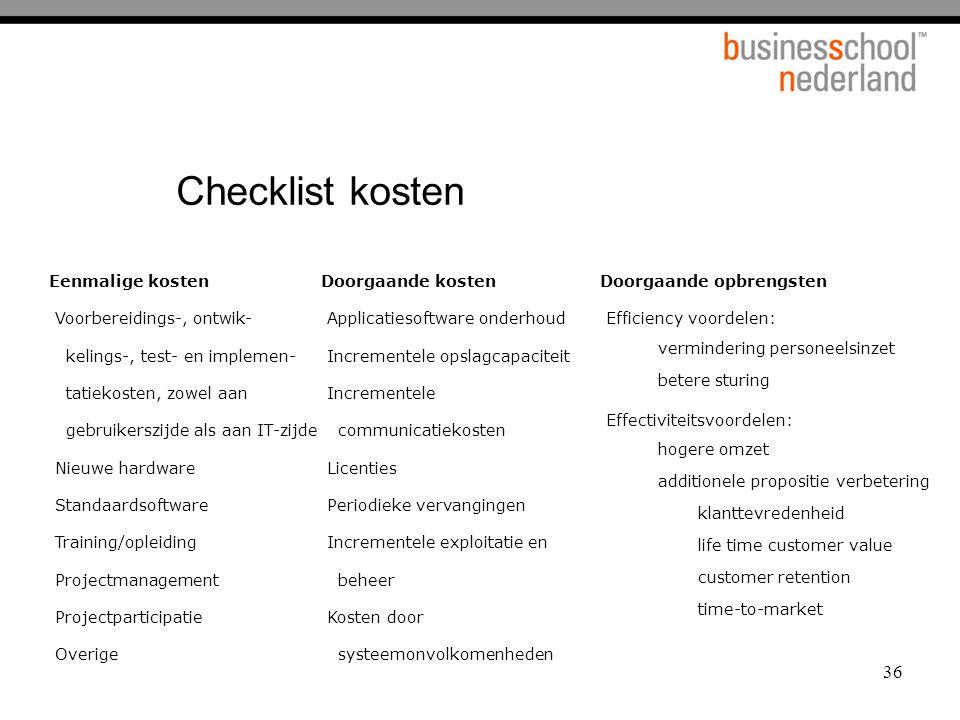 Checklist kosten Eenmalige kosten