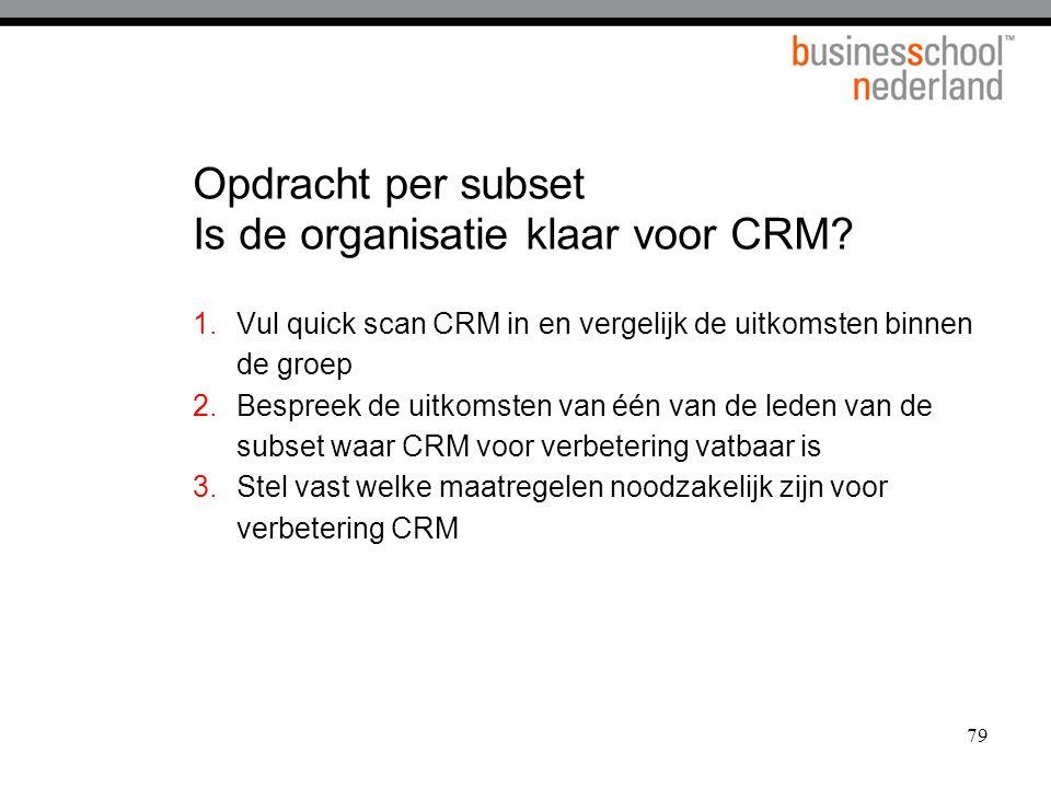 Opdracht per subset Is de organisatie klaar voor CRM