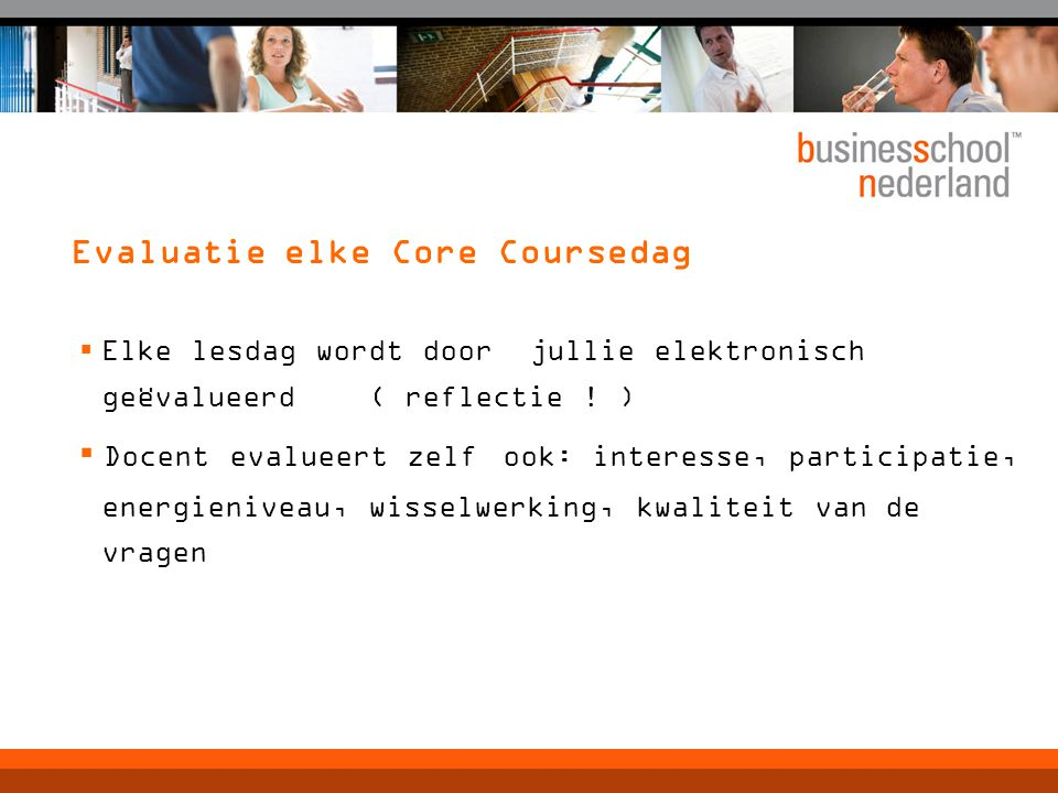 Evaluatie elke Core Coursedag