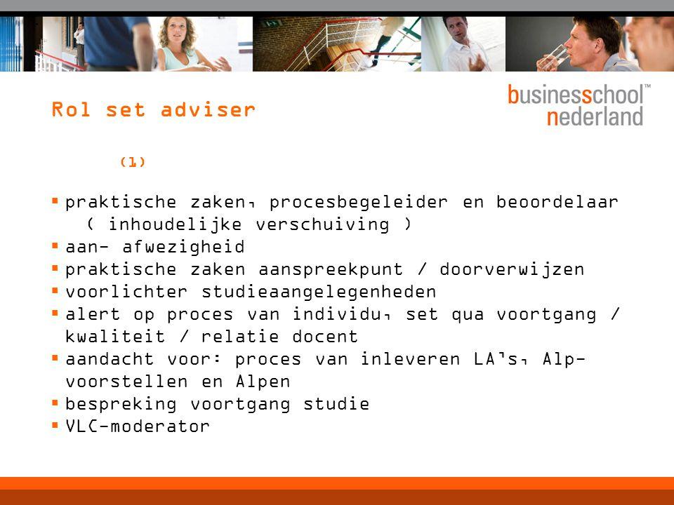 Rol set adviser (1) praktische zaken, procesbegeleider en beoordelaar