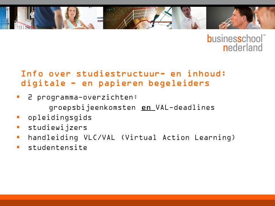 Info over studiestructuur- en inhoud: digitale - en papieren begeleiders