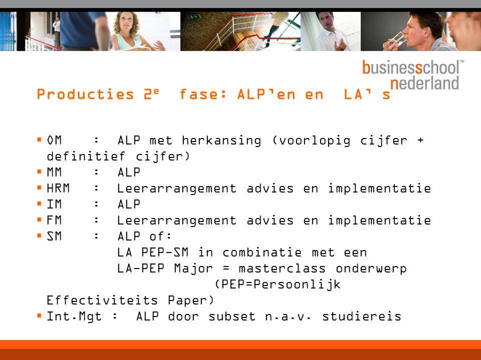 Producties 2e fase: ALP'en en LA' s