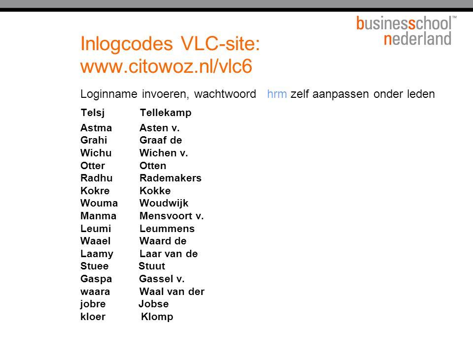 Inlogcodes VLC-site: www.citowoz.nl/vlc6