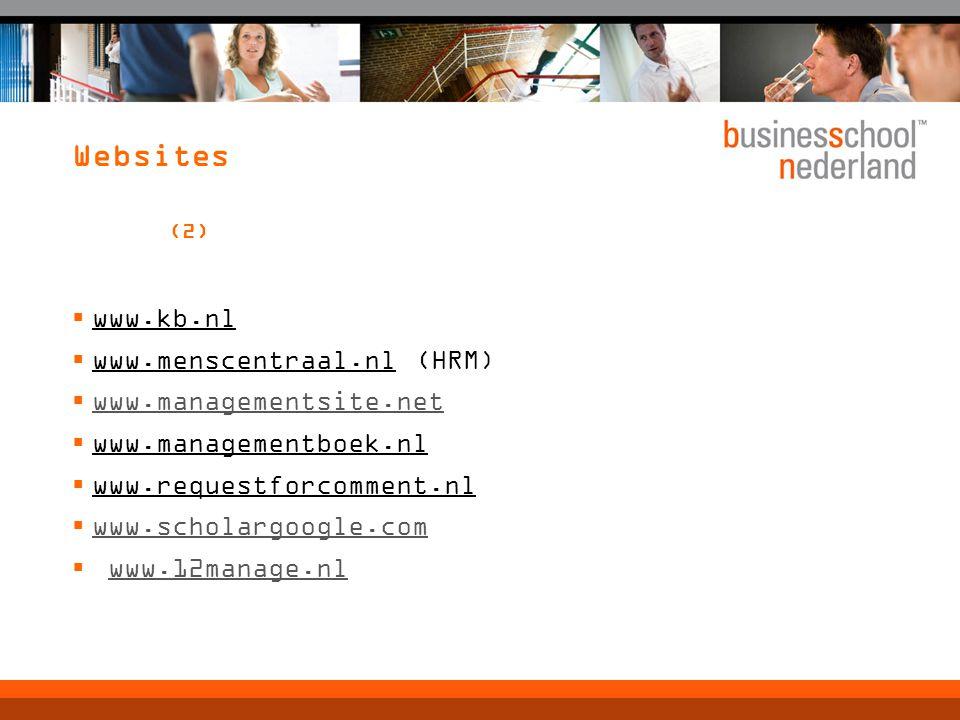 Websites (2) www.kb.nl www.menscentraal.nl (HRM)