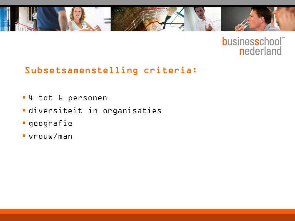 Subsetsamenstelling criteria: