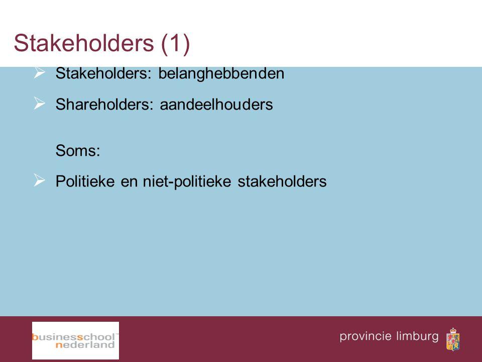 Stakeholders (1) Stakeholders: belanghebbenden