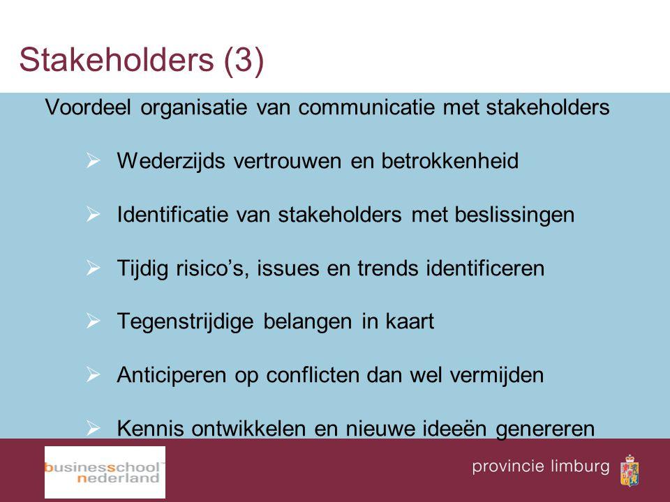 Stakeholders (3) Voordeel organisatie van communicatie met stakeholders. Wederzijds vertrouwen en betrokkenheid.