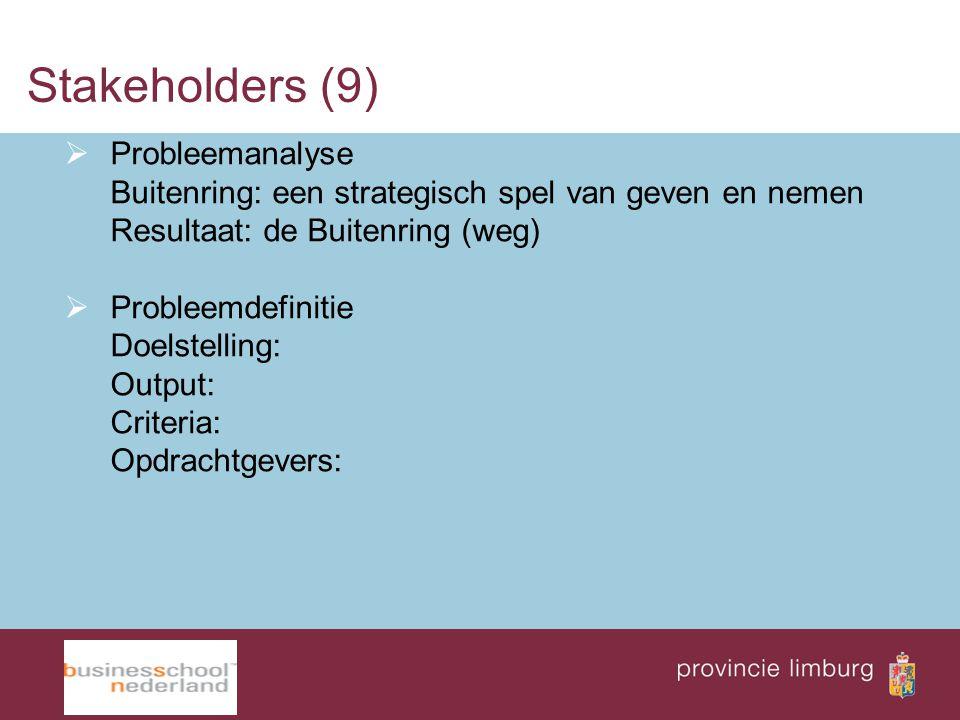 Stakeholders (9) Probleemanalyse